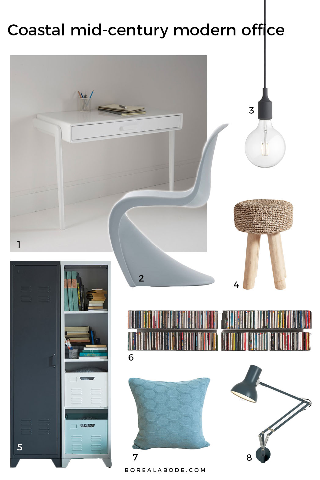 A coastal mid-century modern office mood board