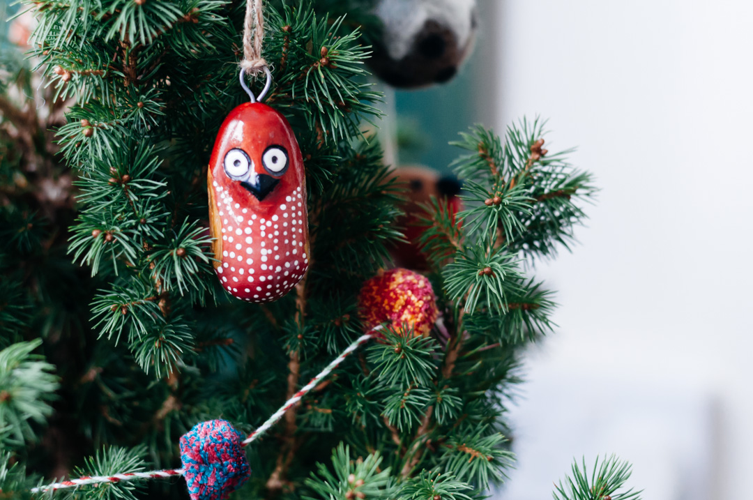 simple christmas decorations boreal abode wooden owl ornament