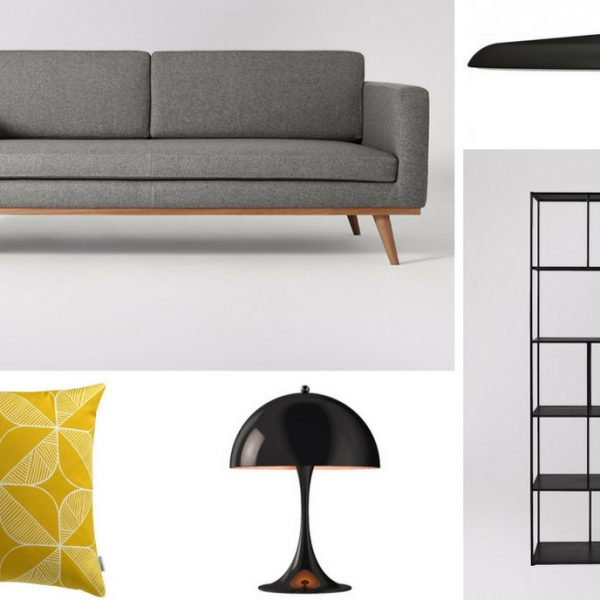 Mood Board inspiration - A small living room to maximise light and space - contemporary style with a mid-century modern twist - main
