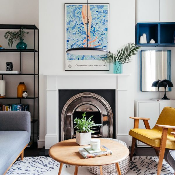 Before After Contemporary Mid-century Modern Summer Living Room Makeover Reveal Boreal Abode-13