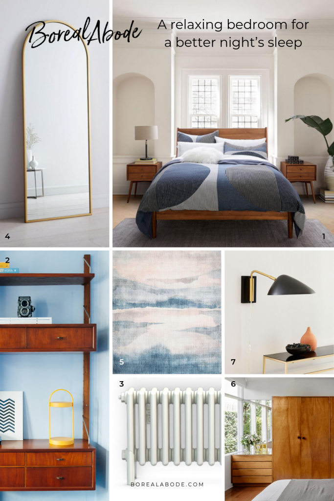 How to design a relaxing bedroom and get better sleep Boreal Abode Mood Board Portrait 1